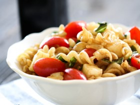 Caprese Pasta Salad from chef-in-training.com ...A simple side dish where elegance meets easy! This is perfect for upcoming summer potlucks, get togethers and BBQs!