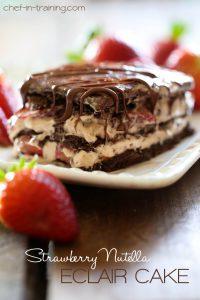 No-Bake Strawberry Nutella Eclair Cake