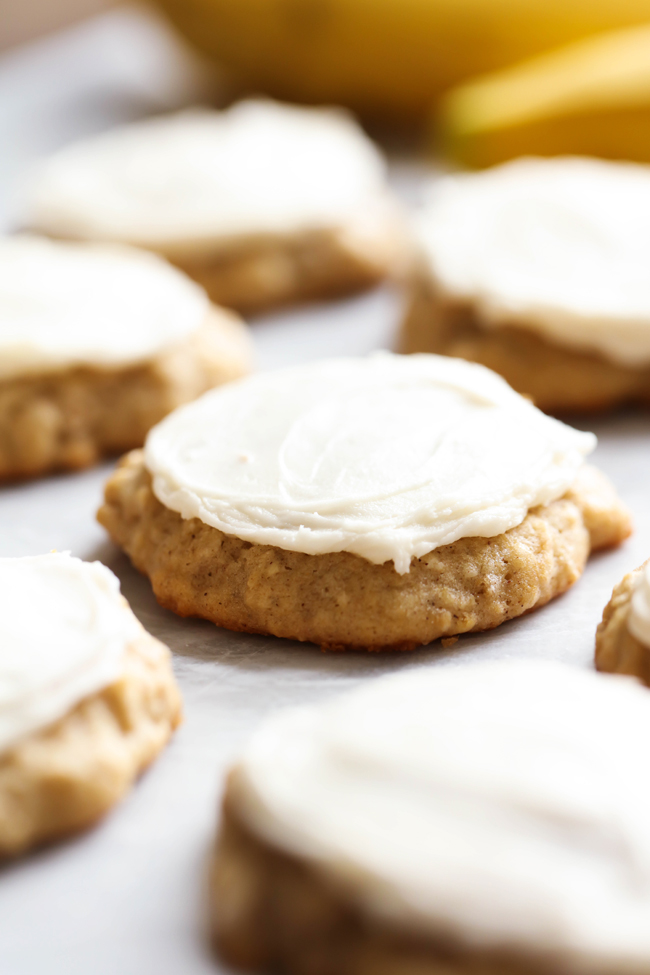 Banana Cookies... these are one of my absolute favorite cookies of all time! They are soft and delicious and are perfect for those browning bananas!