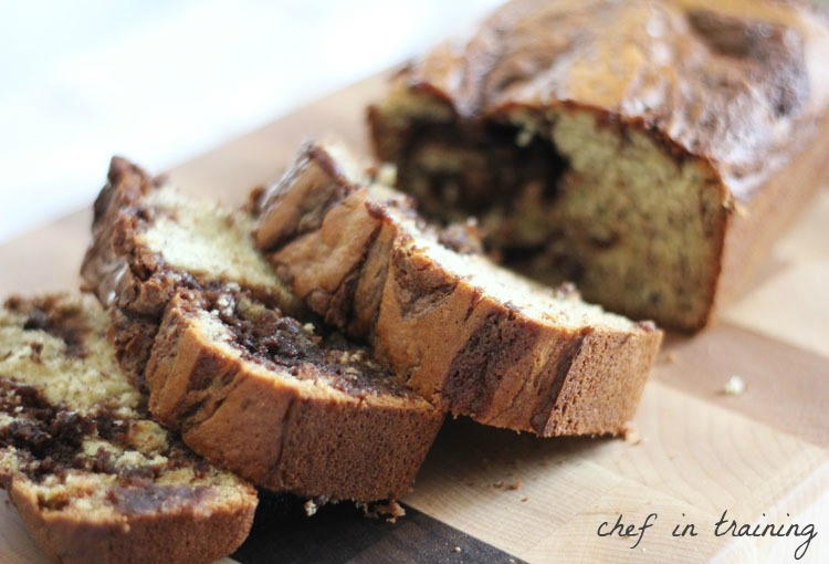 Nutella Banana Bread… this recipe is outstanding! The Nutella really makes the flavor delicious and unique!