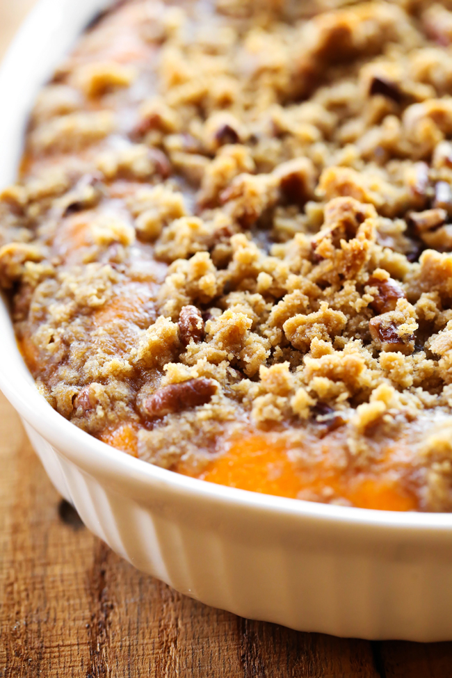 This Sweet Potato Casserole is my absolute FAVORITE side dish at Thanksgiving or anytime really! It is perfectly sweet with a delicious crumb topping! It is always the first thing to disappear wherever I bring it!