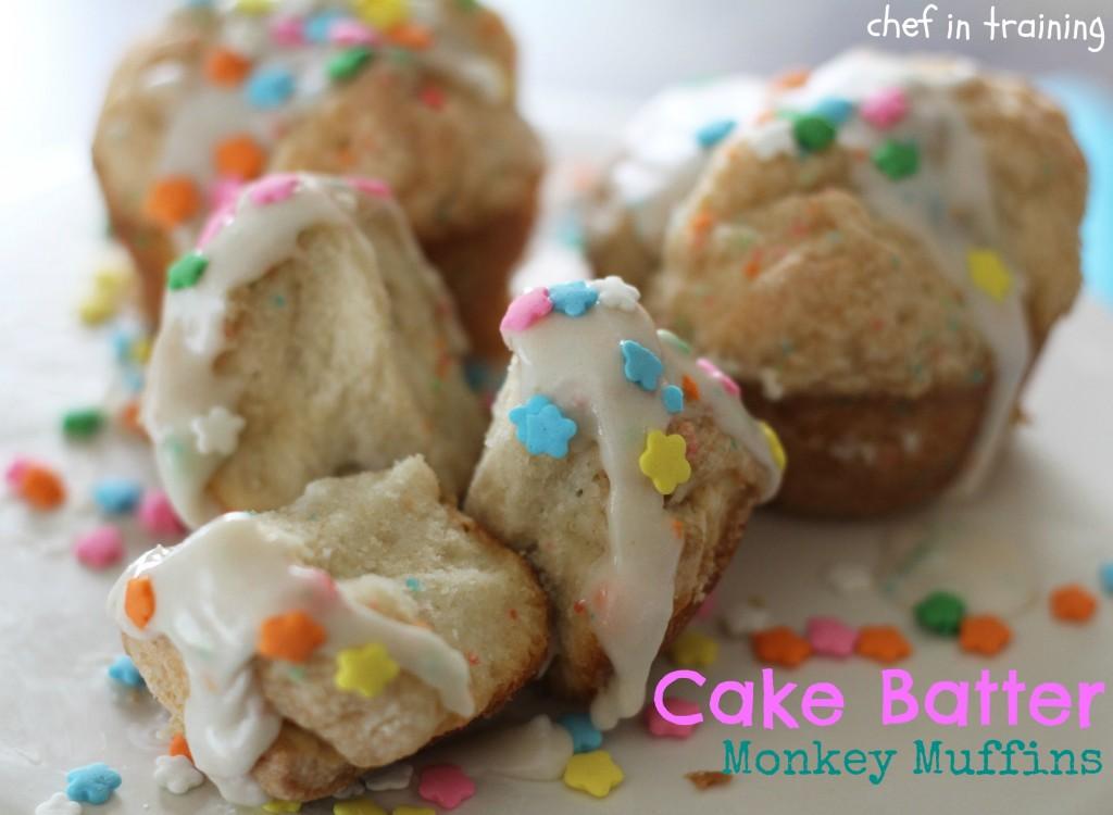 Cake Batter Monkey Muffins   Chef in Training