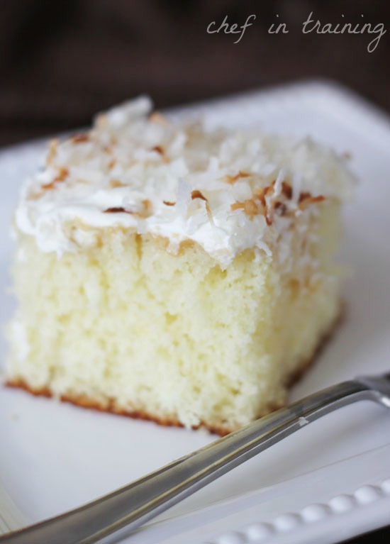 Coconut Cream Cake from chef-in-training.com ...This cake is perfection! moist, delicious SO easy to make!