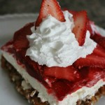 Strawberry Pretzel Jello Salad… this is ALWAYS one of the first things to go with a crowd! So yummy and so easy to make!