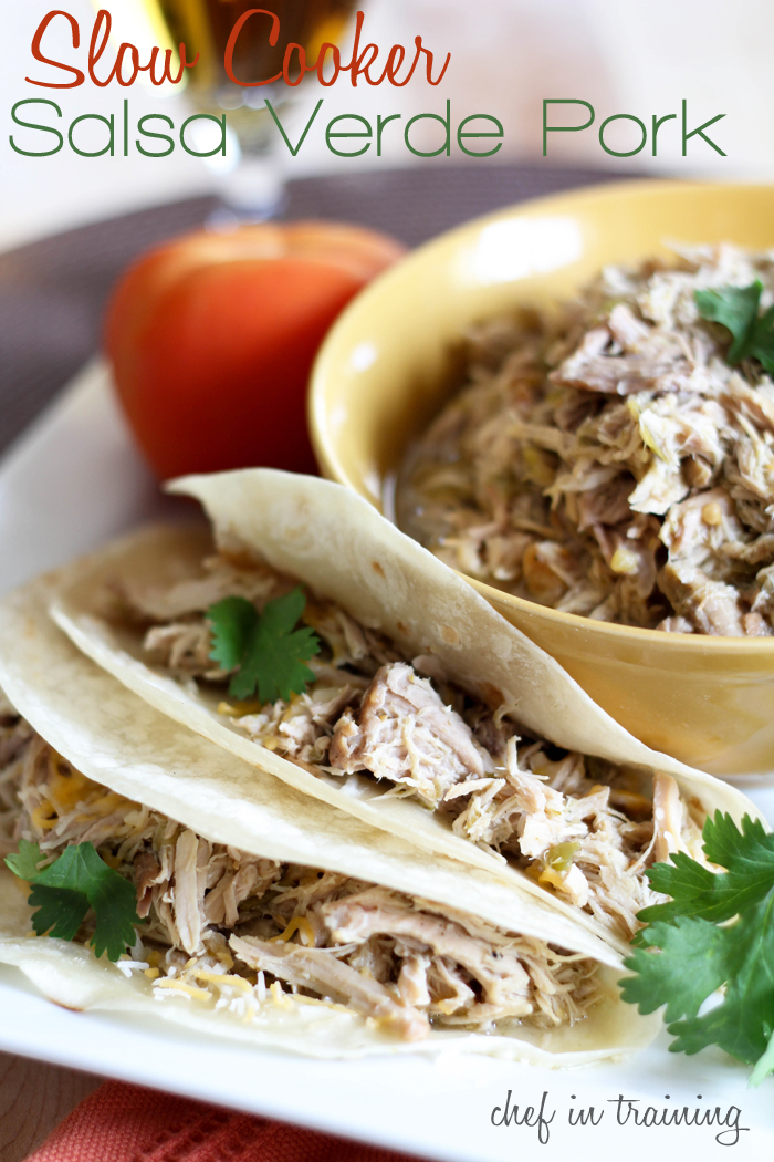 Slow Cooker Salsa Verde Pork! This recipe is so easy! The pork is so ...