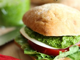 Spinach Pesto!... Throw all the ingredients in the blender and you end up with an amazing spread/topping for sandwiches or pasta dishes!  This is a family favorite!