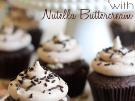 Nutella Cupcakes with Nutella Buttercream!  These are absolutely amazing! #cupcake #recipe