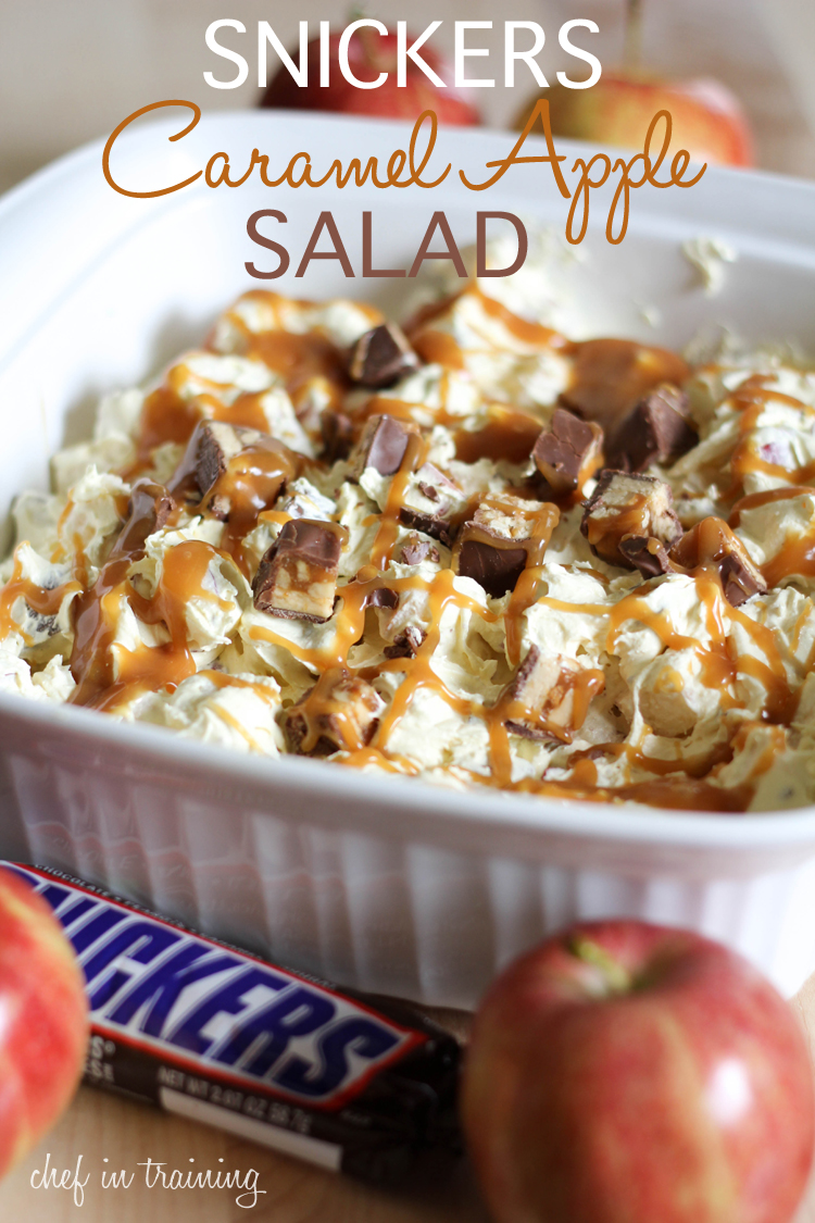Snickers Caramel Apple Salad! A great dessert salad that combines so ...