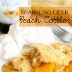 Sparkling Cider Peach Cobbler!... The sparkling cider really adds such a great flavor to this simple recipe! #dessert #recipe