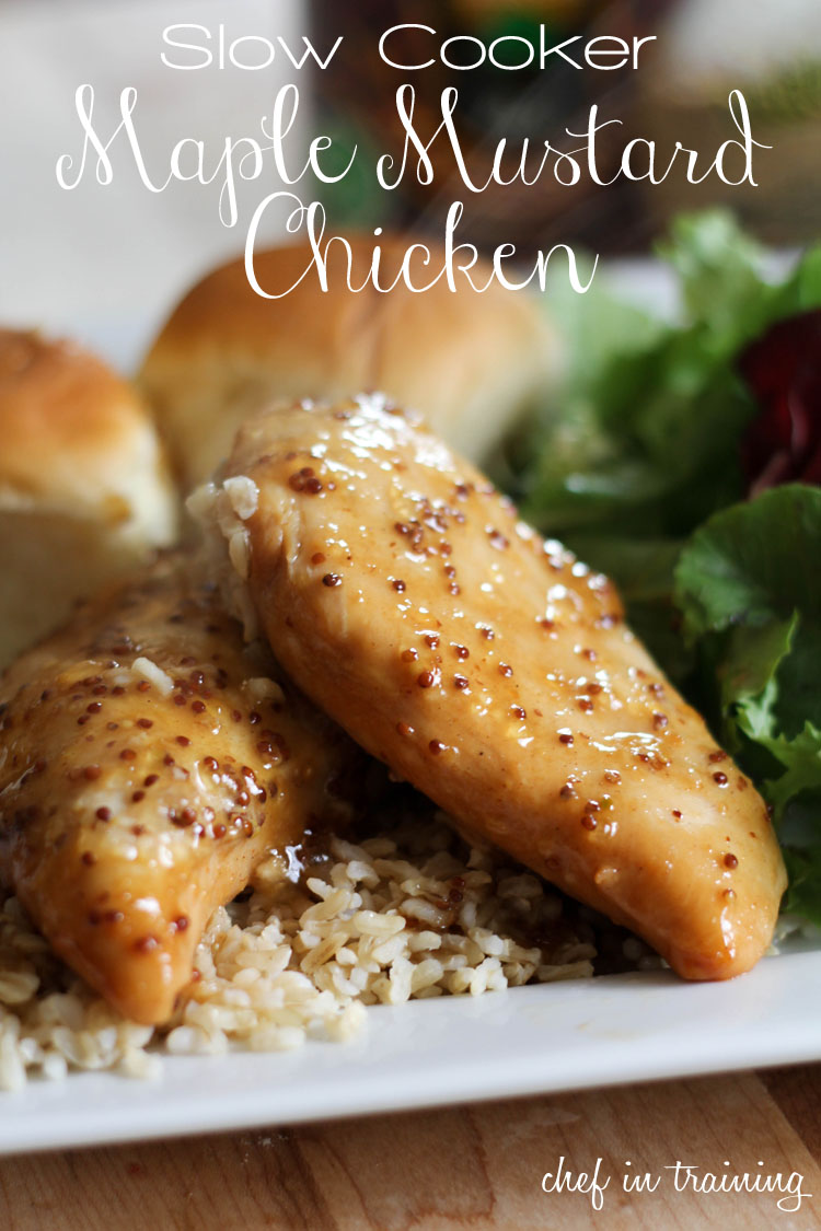 Slow Cooker Maple Mustard Chicken... Only 4 ingredients and the sauce ...
