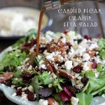Candied Pecan, Craisin, Feta Salad with Creamy Balsamic Vinaigrette... This is the most amazing and delicious salad! #salad #recipe