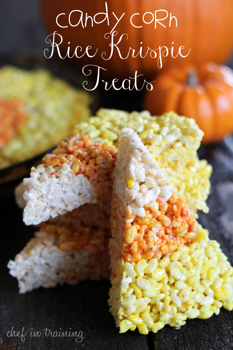 Candy Corn Rice Krispie Treats - Chef in Training