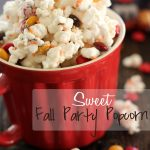 Sweet Fall Party Popcorn!... ONLY 4 ingredients! This stuff is not only insanely delicious, but is SO EASY to make! #popcorn #treat #recipe