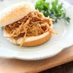 Slow Cooker Sweet and Tangy Pulled Pork!... Cooks for 8-10 hours, so this is perfect to put on the night before or when you have a long day ahead of you! #recipe #slowcooker