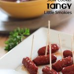 Slow Cooker Tangy Little Smokies... ONLY 3 ingredients! An easy appetizer that everyone will love! #appetizer #recipe