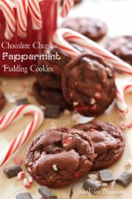 Chocolate Chunk Peppermint Pudding Cookies