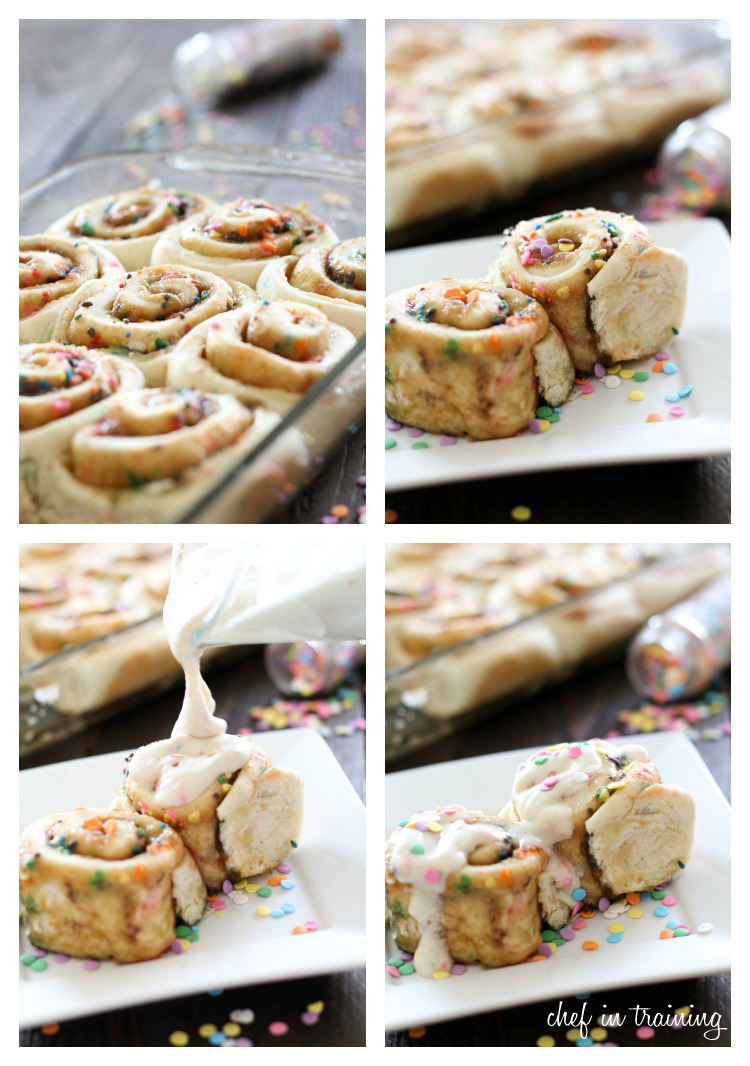 Cake Batter Cinnamon Rolls {Made with a Cake Mix!} on chef-in-training.com ...These could be the easiest and most delicious cinnamon rolls ever! #recipe #dessert
