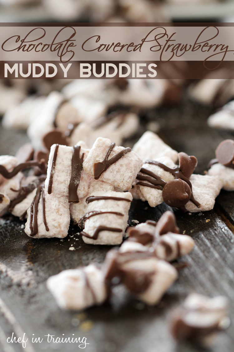 Chocolate Covered Strawberry Muddy Buddies on chef-in-training.com ...An easy, delicious and addictive recipe! These are incredible! #dessert #recipe #chocolate