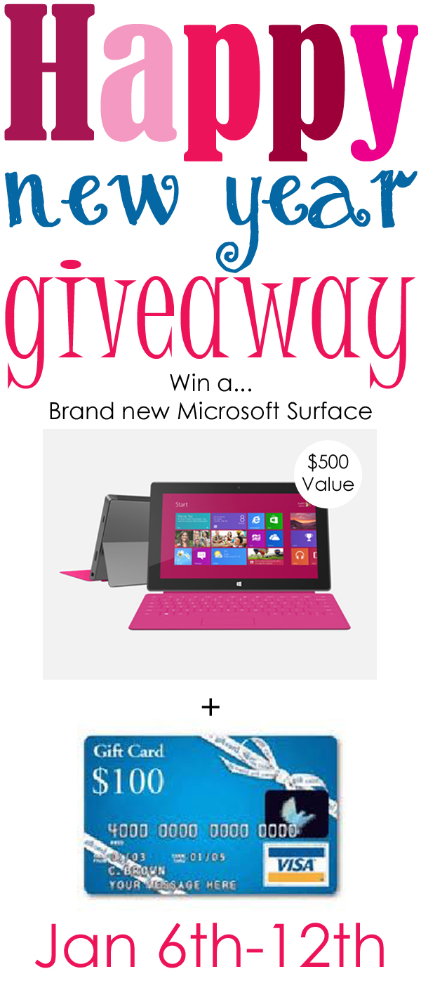 New Year Giveaway on www.chef-in-training.com ...Enter for your chance to win a Microsoft Surface or a 100 dollar Visa Card!