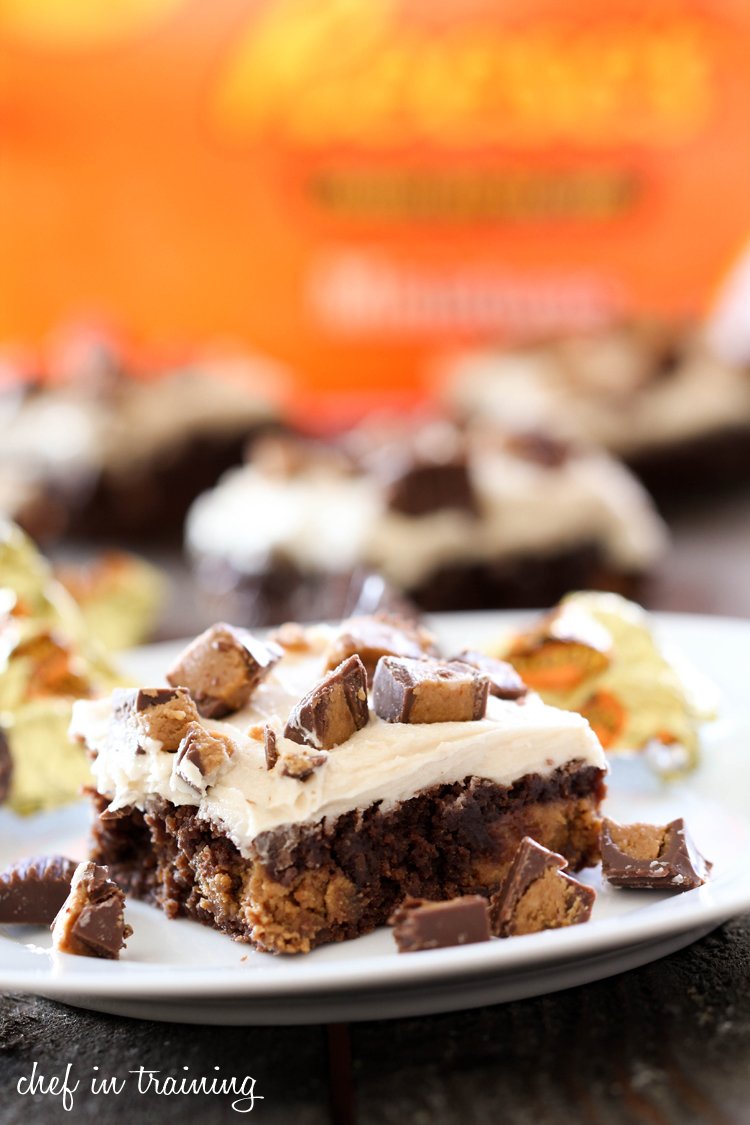 Reeses Brownies with Peanut Butter Buttercream on chef-in-training.com ...A chocolate peanut butter heaven! Must make these soon! #recipe #dessert