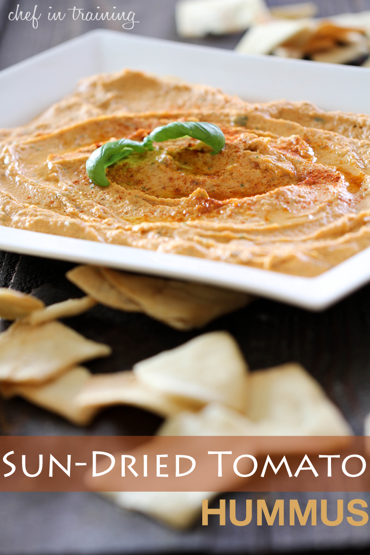Sun-Dried Tomato Hummus on chef-in-training.com ...This is a delicious and healthier alternative to traditional dips. It is jam packed with flavor and completely addictive! #recipe #appetizer #hummus