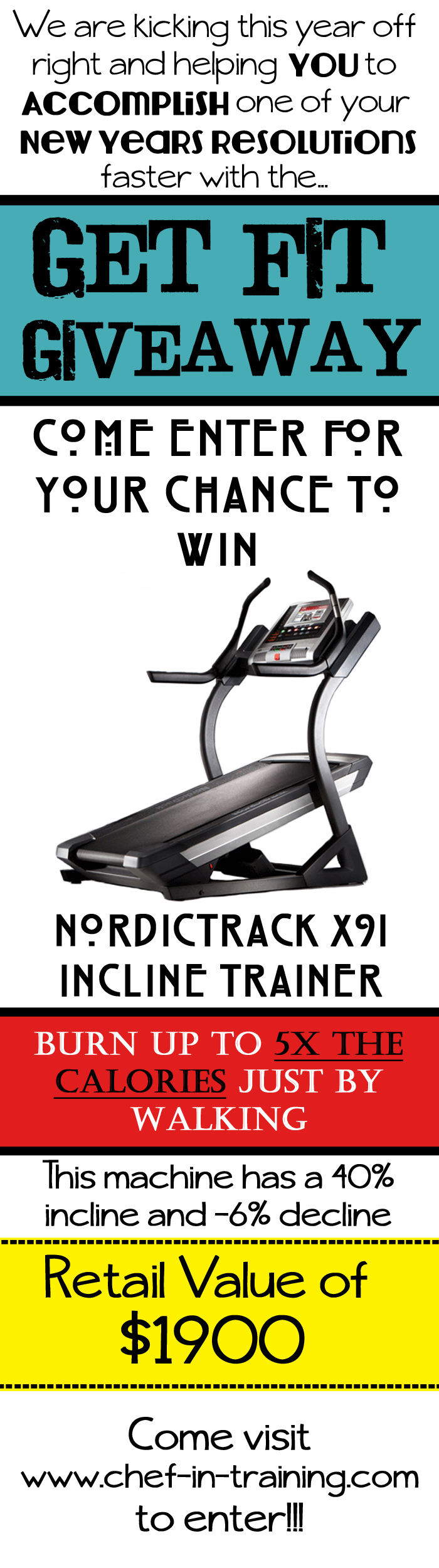 Get Fit Giveaway! Come enter for your chance to win a NordicTrack X9i Incline Trainer. $1900 Value!