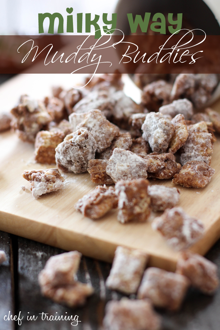 Milky Way Muddy Buddies on chef-in-training.com ...These are so delicious and completely addictive!  #recipe #dessert #chocolate