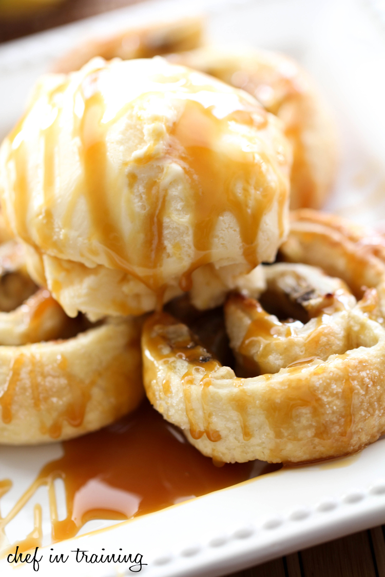 Caramel Banana Swirls on chef-in-training.com ...These literally melt in your mouth! While they are warm, top them with some ice cream and you will be blown away by a flavor explosion! #recipe #dessert