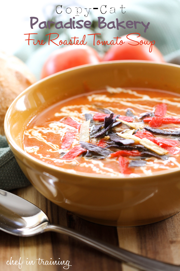 Copy-Cat Paradise Bakery Fire Roasted Tomato Soup on chef-in-training.com ...This soup is one of my new favorites! So easy and so delicious! #recipe #soup