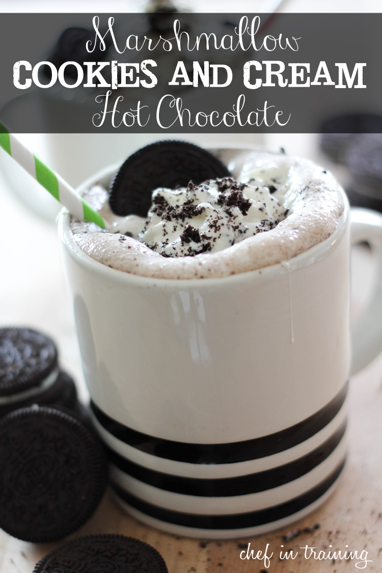 Marshmallow Cookies and Cream Hot Chocolate on chef-in-training.com ...Okay, this recipe is amazing! Once you try it, you will never have regular hot cocoa ever again! #recipe #chocolate