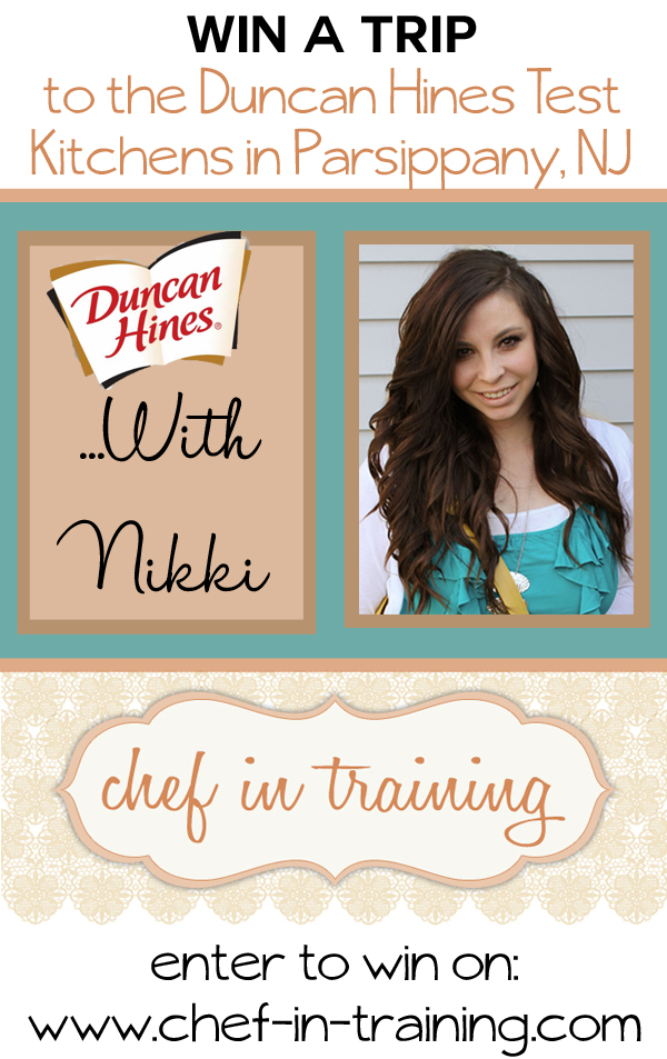 Come enter for your chance to win a trip to the Duncan Hines Test Kitchen with Nikki from chef-in-training.com #giveaway