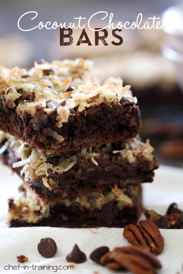 Chocolate Coconut Bars from chef-in-training.com ...Coconut, sweetened condensed milk and chocolate, this recipe is DELICIOUS!