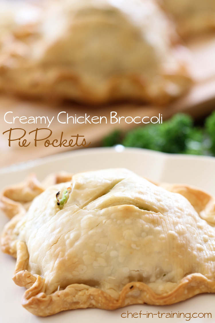 Creamy Chicken Broccoli Pie Pockets from chef-in-training.com ...This is an extremely easy meal to whip up and will quickly become a new family favorite in your home! A FANTASTIC recipe!