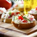 Greek Crostini from chef-in-training.com ...This appetizer is one of my new favorites! With tzatziki sauce, feta and some fresh veggies... how on earth could it go wrong?!