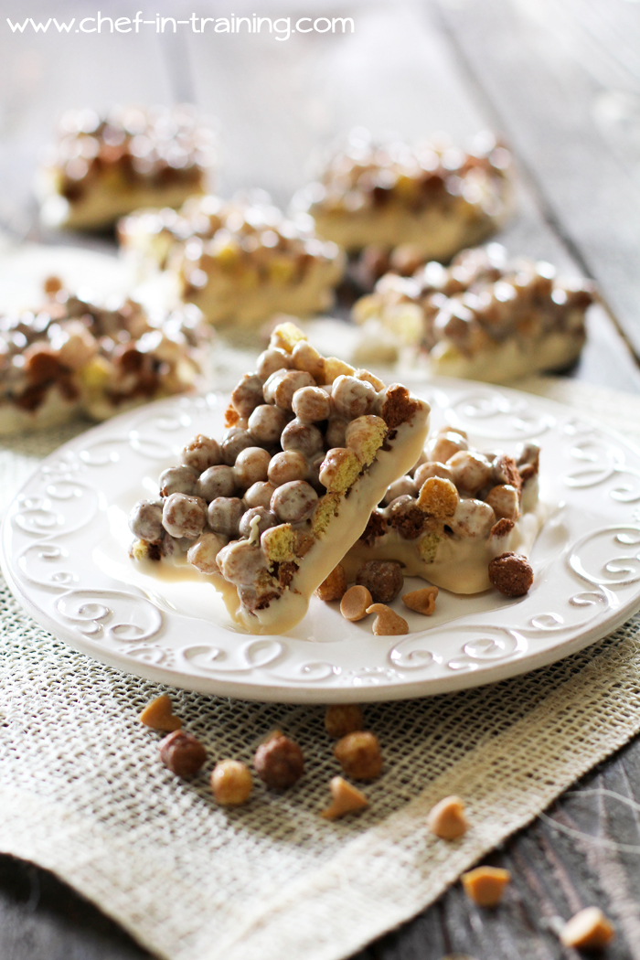 Reese's Puff Peanut Butter Treats from chef-in-training.com ...These are just like the Lucky Charms Treats, only perfected for a peanut-butter/chocolate lover! These are DELISH!
