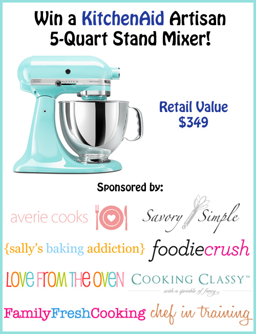 Come visit chef-in-training.com to enter for your chance to win this AMAZING KitchenAid Mixer!