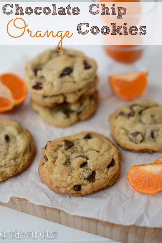 Chocolate Chip Orange Cookies from crazyforcrust.com guest post for Chef in Training.... These sound like a fantastic combo of flavors!