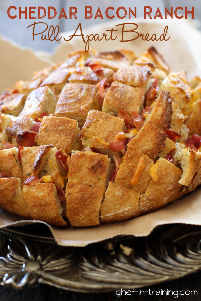 Cheddar Bacon Ranch Pull Apart Bread from chef-in-training.com ...This appetizer whips up in minutes and is a crowd pleaser! Seriously, it is SO delicious!