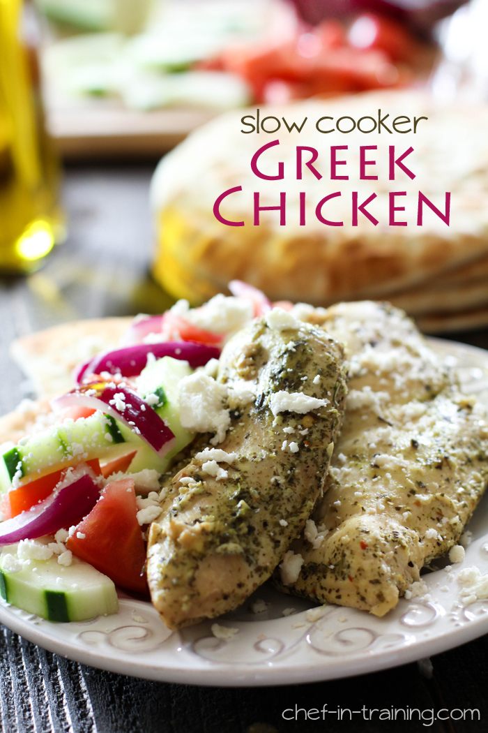 Slow Cooker Greek Chicken from chef-in-training.com ...This chicken is extremely tender, easy to make and full of delicious flavor! One of my family's new favorite meals!