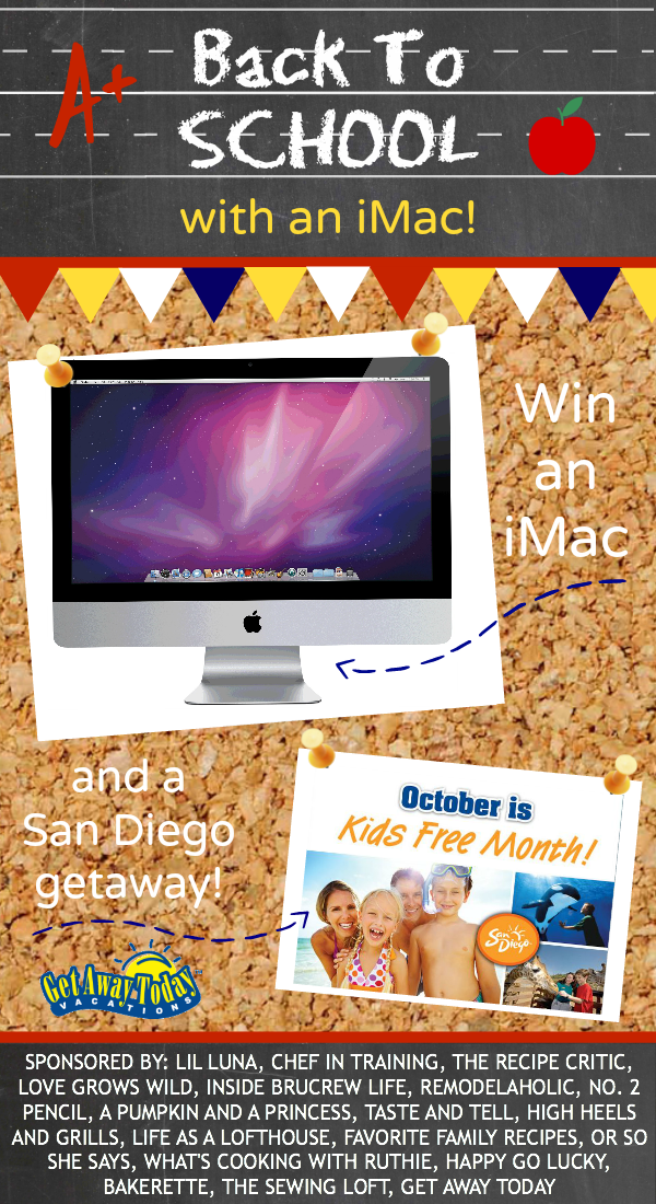 Back to School iMac Giveaway! Come visit chef-in-training.com to enter for your chance to win!