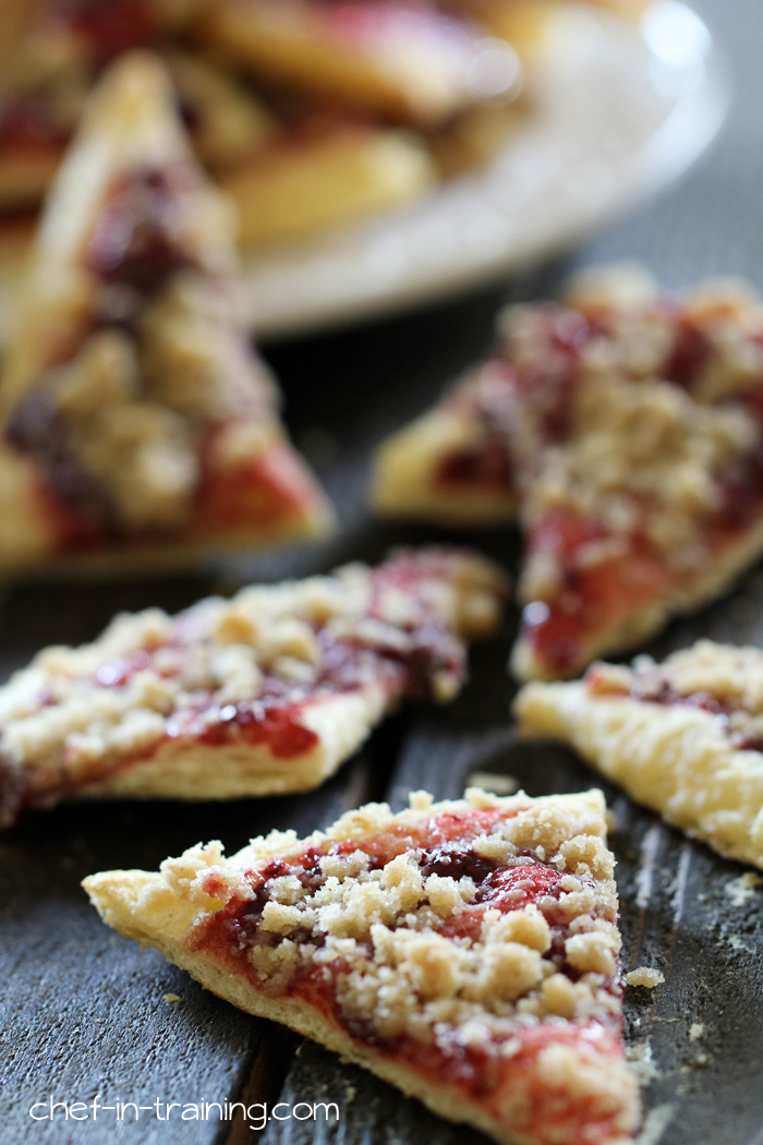 Raspberry Cobbler Crumb Crispies from chef-in-training.com... These are seriously AMAZING! Everything you love about raspberry cobbler transformed into a delicious dessert pizza with a buttercream glaze.
