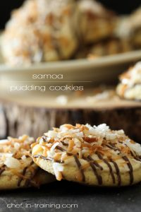 "Samoa Pudding Cookies from chef-in-training.com ...Of all the cookies on ""Chef in Training""'s blog, she has deemed these to be her absolute favorite! These are absolutely INCREDIBLE!"