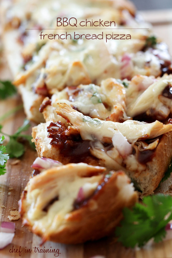 BBQ Chicken French Bread Pizza from chef-in-training.com ...This meal is DELICIOUS and can be ready in 20 minutes flat from start to finish! Can it get any easier?!