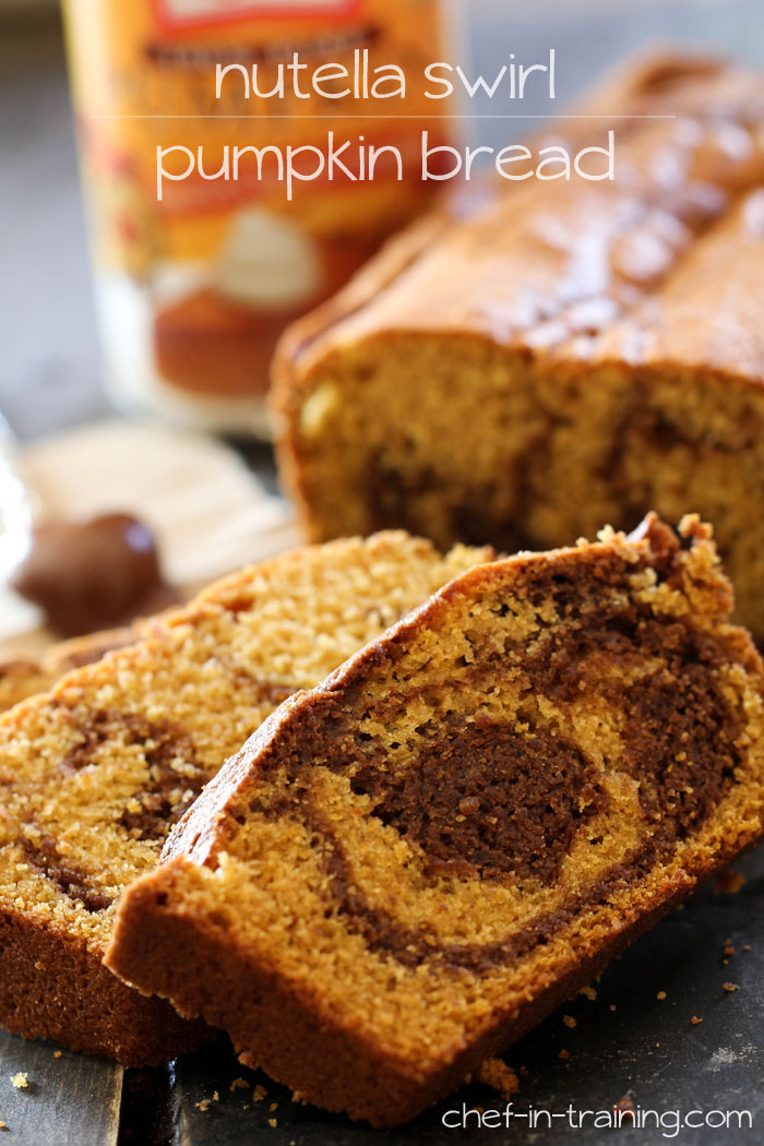 Nutella Swirl Pumpkin Bread from chef-in-training.com ...This bread combines two fabulous ingredients into one moist and delicious recipe!
