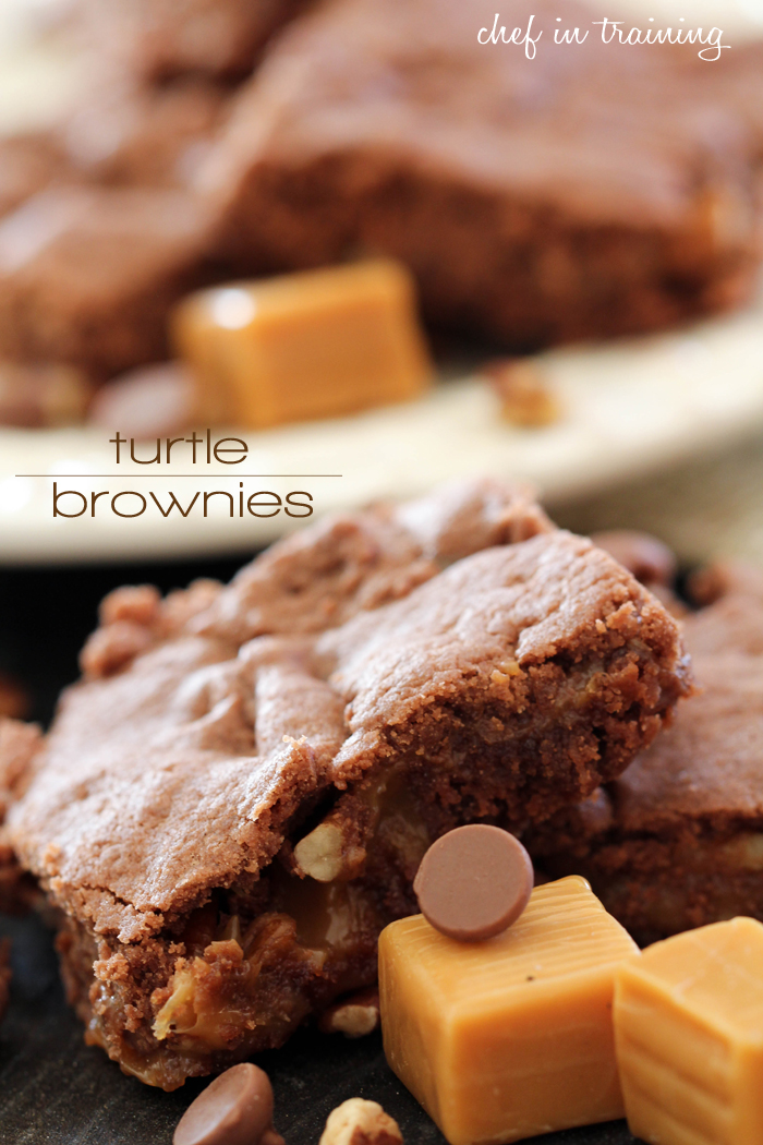 Turtle Brownies from chef-in-training.com ...This recipe is INCREDIBLE! You will never guess how easy they are to make!
