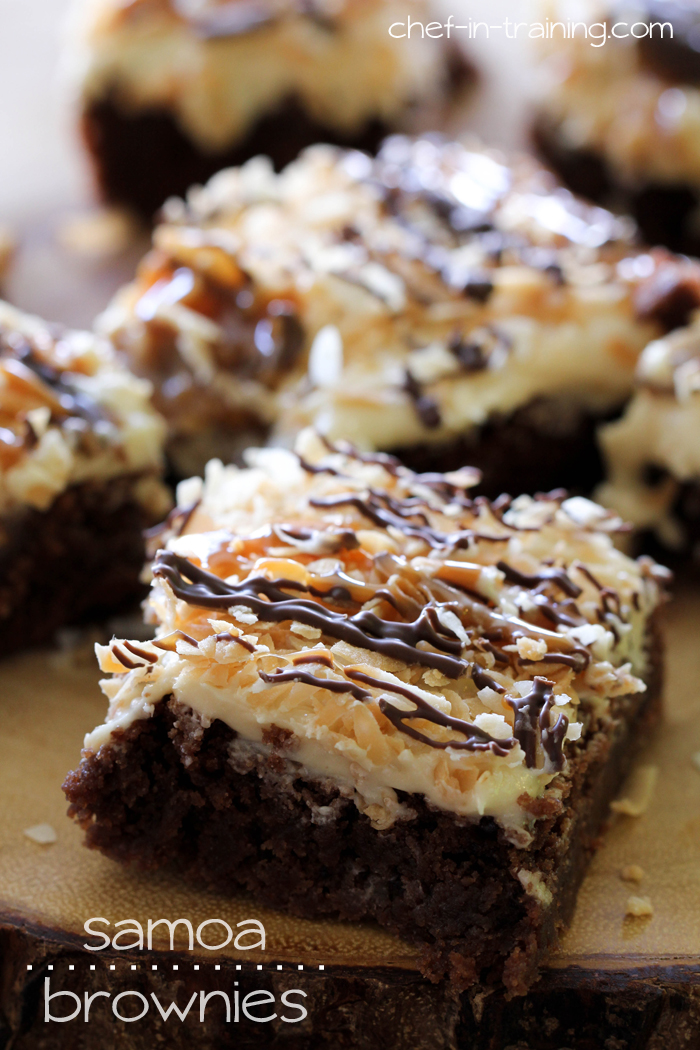 Samoa Brownies from chef-in-training.com ...Rich fudgy brownies topped with a delicious salted caramel buttercream, toasted coconut, chocolate and caramel.. how could go wrong?!
