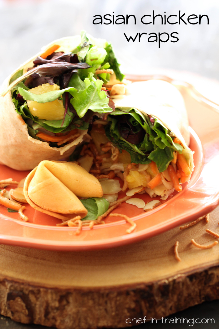 Asian Chicken Wraps from chef-in-training.com ...This is a new and fresh lunch/dinner idea that is packed with delicious flavor and stuffed with tasty ingredients!