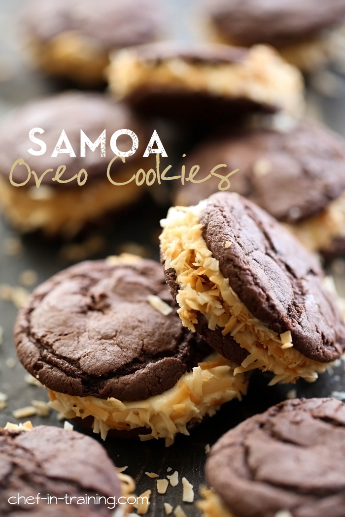 Samoa Oreo Cookies from chef-in-training.com ...These cookies are SUPER easy and seriously SO delicious!
