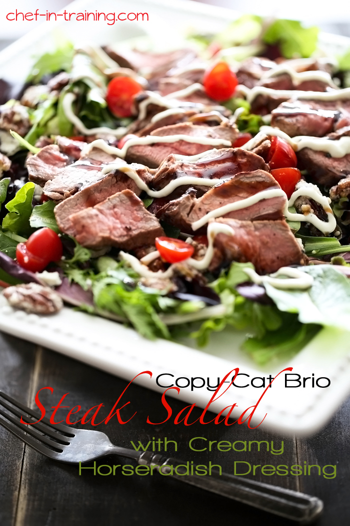 Copy Cat Brio Steak Salad with Creamy Horseradish Dressing on chef-in-training.com ...This is one salad you will want to make over and over again!