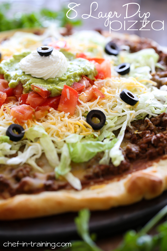 8 Layer Dip Pizza! Everything you LOVE about the crowd-pleasing 7 layer dip now made into a pizza! This is a dinner the whole family will love!